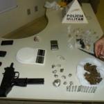 Foto de material aprrendido pela Policia Militar